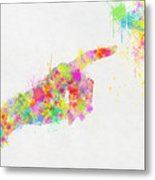 Colorful Painting Of Hand Pointing Finger Metal Print