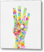 Colorful Painting Of Hand Pointing Four Finger Metal Print