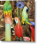 Colorful Parrots Metal Print