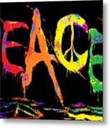 Colorful Peace Cat Metal Print