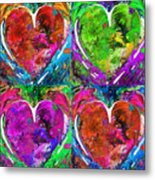 Colorful Pop Hearts Love Art By Sharon Cummings Metal Print