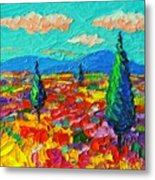 Colorful Poppies Field Abstract Landscape Impressionist Palette Knife Painting By Ana Maria Edulescu Metal Print