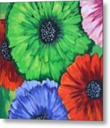 Colorful Poppy Lime Metal Print