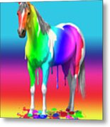 Colorful Rainbow Paint Horse Metal Print