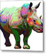 Colorful Rihno Metal Print