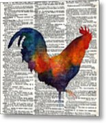 Colorful Rooster On Vintage Dictionary Metal Print