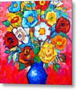 Colorful Roses And Camellias - Abstract Bouquet Of Flowers Metal Print