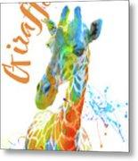 Colorful Safari Animals D Metal Print