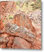 Colorful Sandstone In Wash 3 - Valley Of Fire Metal Print