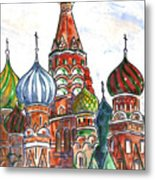 Colorful Shapes In A Red Square Metal Print