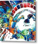 Colorful Statue Of Liberty - Sharon Cummings Metal Print