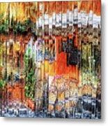 Colorful Street Cafe Metal Print
