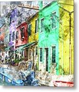 Colorful Street In Burano Near Venice Italy Metal Print