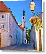 Colorful Street Of Baroque Town Varazdin  Metal Print