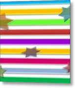 Colorful Stripes And Stars Metal Print