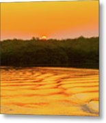 Colorful Sunrise Over Island In Galapagos Metal Print