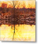 Colorful Sunrise Textured Reflections Metal Print