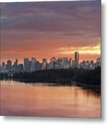 Colorful Sunset Over Vancouver Bc Downtown Skyline Metal Print