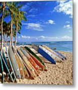 Colorful Surfboards On Waikiki Beach Metal Print