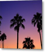 Colorful Tropical Palm Tree Sunset Metal Print