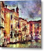 Colorful Venice Canal Metal Print