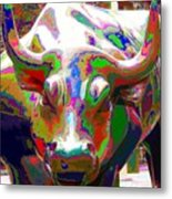 Colorful Wall Street Bull Metal Print