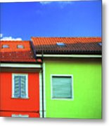 Colorful Walls And A Cloud Metal Print