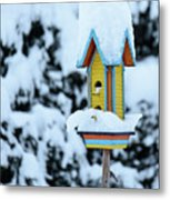 Colorful Wooden Birdhouse In The Snow Metal Print