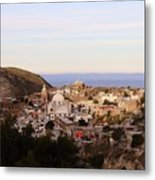 Colorfusk Dusk Sky Over A Typical Mexican Town Metal Print