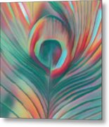 Colors Of The Rainbow Peacock Feather Metal Print