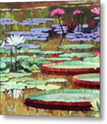 Colors on the Lily Pond Metal Print