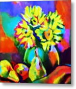 Colors, Pears And Flowers Metal Print