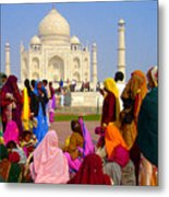 Colorful Saris At Taj Mahal Metal Print