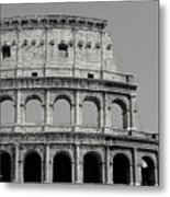 Colosseum Or Coliseum Black And White Metal Print