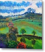 Colourful English Devon Landscape - Early Evening In The Valley Metal Print