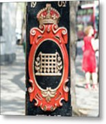 Colourful Lamp Post With The City Of Westminster Coat Of Arms London Metal Print