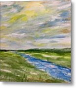 Colourful Sky Over The Creek Metal Print