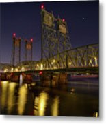 Columbia Crossing I-5 Interstate Bridge At Night Metal Print