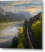 Columbia Gorge Train Metal Print