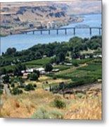 Columbia River And Biggs Bridge Metal Print