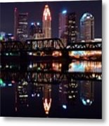 Columbus Ohio Reflecting On The River Metal Print