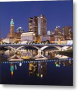 Columbus Skyline Reflection Metal Print