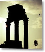 Column Sunset Temple Of Castor And Pollux In The Forum Rome Italy Metal Print