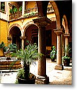 Columns And Courtyard Metal Print by Mexicolors Art Photography