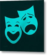 Comedy N Tragedy Aquamarine Metal Print