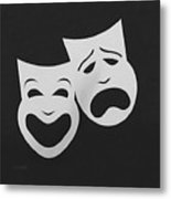 Comedy N Tragedy Black White Metal Print