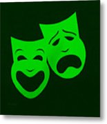 Comedy N Tragedy Green Metal Print