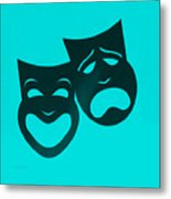 Comedy N Tragedy Turquoise Metal Print