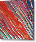 Comet Tail. Colorful Painter Palette. Exhausted Paint And Abstract Painting. Metal Print