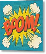 Comic Boom On Blue Metal Print